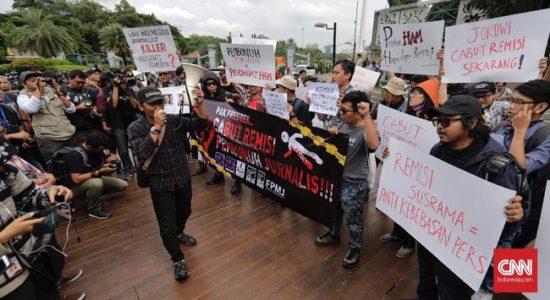 Protes Remisi Pembunuh Wartawan Meluas