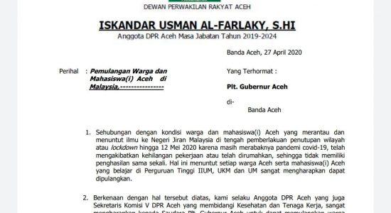 Anggota DPRA Minta Pemerintah Pulangkan Warga Aceh di Malaysia