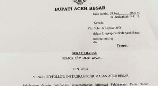 Bupati Aceh Besar Perintahkan ASN Buat Akun Medsos