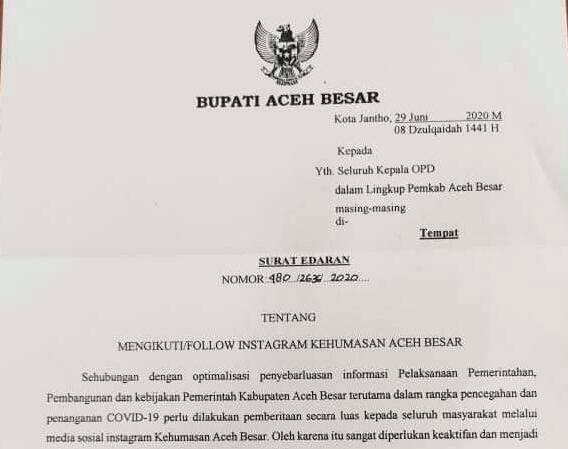 Bupati Aceh Besar Perintahkan Asn Buat Akun Medsos Acehimage Com