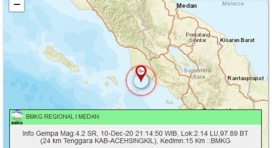 Aceh Singkil Diguncang Gempa 4,2 Skala Richter