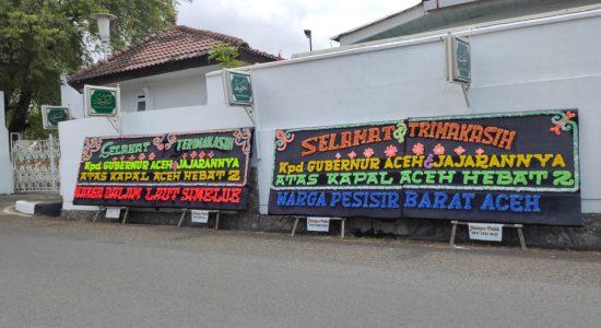Papan Bunga Terimakasih Gubernur Aceh Banjiri Pendopo, Ada Apa?